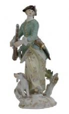 Meissen Porcelain Figurine - Woman with Dog and Gun